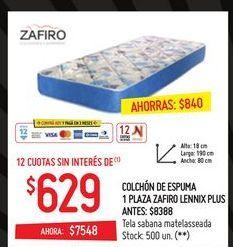 Oferta de Colchón de espuma 1 plaza zafiro lennix plus  por $629