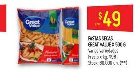 Oferta de Pastas secas Great Value 500g por $49