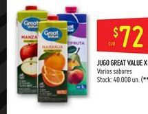 Oferta de Jugos Great Value por $72
