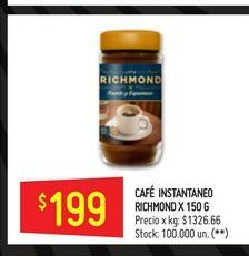 Oferta de Cafe Richmon 150g  por $199