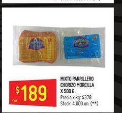 Oferta de Chorizo parrillero 500g por $189