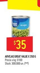 Oferta de Arvejas Great Value 350g por $35