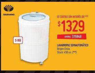 Oferta de Lavarropas Daewoo 5kg  por $15948