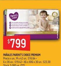 Oferta de Pañales parent's choice premium  por $799
