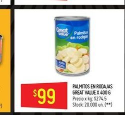 Oferta de Palmitos Great Value 400g  por $99