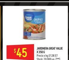 Oferta de Jardinera Great Value 350g  por $45