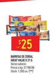 Oferta de Barritas de cereal 21g  por $25
