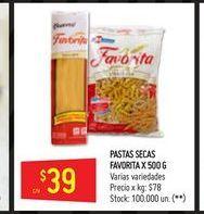 Oferta de Pastas secas Favorita 500g  por $39