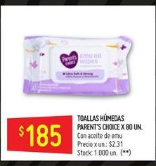 Oferta de Toallitas húmedas Parent's choice 80un  por $185