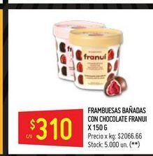 Oferta de Frambuesas bañadas con chocolate FRANUI 150G  por $310