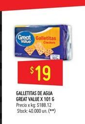 Oferta de Galletitas de agua Great Value 101g  por $19