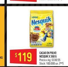 Oferta de Cacao en polvo Nesquik 360g  por $119