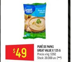 Oferta de Puré de papas Great Value 125g  por $49
