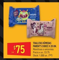 Oferta de Toallitas húmedas parent's choice 20un  por $75