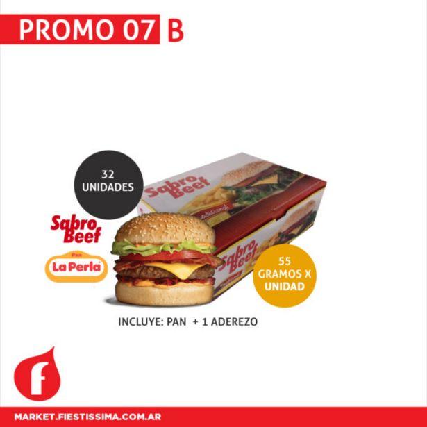 Oferta de [PROMO 07 B] 32 medallones sabro beef x 55 grs  x unid + 32 Panes La Perla + 1 Aderezo por $1116,75