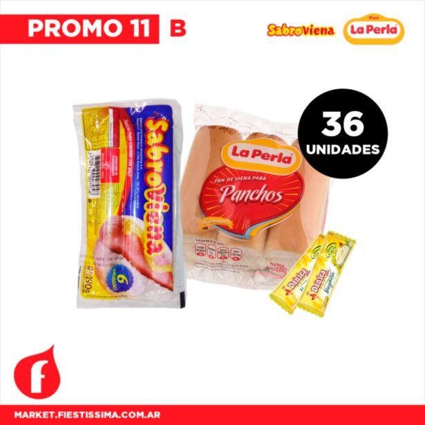 Oferta de [PROMO 11 B] 36 panchos cortos sabroviena  + Pan La Perla + 1 Aderezo por $687,17