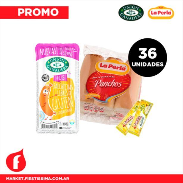 Oferta de [PROMO] 36 panchos cortos Unión Ganadera + Pan La Perla + 1 aderezo. por $853,41