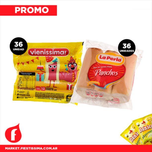 Oferta de [PROMO] 36 panchos cortos Vienissima + Pan La Perla + 2 Aderezos por $968,09
