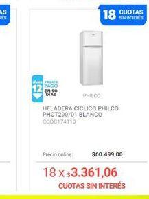 Oferta de Heladeras Philco blanco  por $3049900