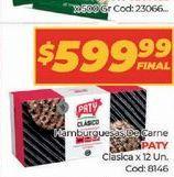 Oferta de Meallones de carne PATY 12un  por $599,99