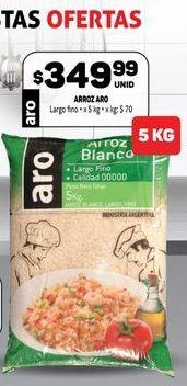Oferta de Arroz blanco ARO 5kg  por $349,99