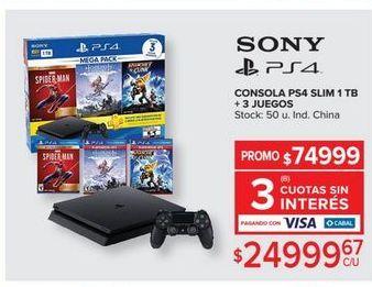 Oferta de PlayStation 4 Sony + 3 JUEGOS  por $24999,67