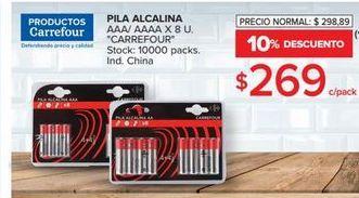 Oferta de Pilas alcalinas Carrefour 8u por $269