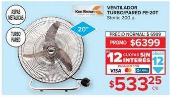 Oferta de Ventilador turbo/pared 20'' por $533,25