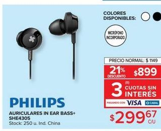 Oferta de Auriculares in ear bass+ PHILIPS  por $1149