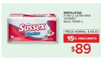 Oferta de Servilletas Sussex 150u por $89