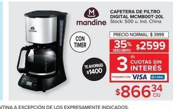Oferta de Cafetera de filtro  por $3999