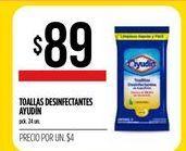 Oferta de Toallitas desinfectantes Ayudin 24un  por $89