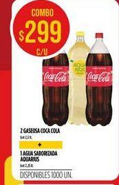 Oferta de 2 gaseosas Coca cola + 1 agua saborizada AQUARIUS  por $299