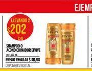 Oferta de Shampoo o acondicionador Elvive 400ml  por $202