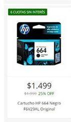 Oferta de Cartuchos HP664 negro  por $1499