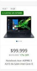 Oferta de Notebook Acer aspire 3  por $99999