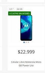 Oferta de Celulares Motorola libre moto g8 power lite por $22999