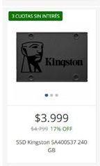 Oferta de Ssd KINGSTON 240gb por $3999