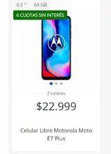 Oferta de Celulares Motorola libre moto e7 plus  por $22999