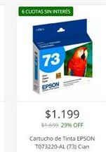 Oferta de Cartuchos de tinta Epson por $1199