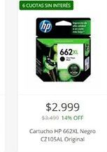 Oferta de Cartuchos de tinta HP por $2999