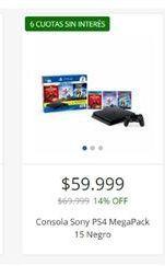 Oferta de Consola sONY PS4 MEGAPACK 15 NEGRO  por $59999