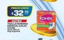 Oferta de Toallas femeninas Kotex 8uni  por $32,99