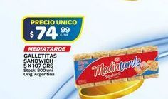 Oferta de Galletitas sandwich Media Tarde 107gr  por $74,99