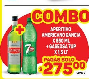 Oferta de Aperitivo americano gancia x 950ml + gaseosa 7 up x 1,5lt  por $275