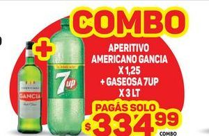 Oferta de Aperitivo americano Gancia 1,25 + gaseosa 7up x 3lt  por $334,99