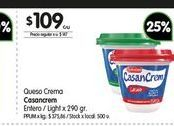 Oferta de Queso crema Casancrem entero/light 290gr por $109