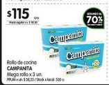Oferta de Rollo de cocina Campanita mega rollo 3 un  por $115
