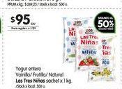 Oferta de Yogur entero Las Tres Niñas sachet 1kg  por $95