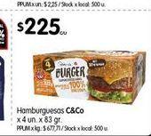 Oferta de Hamburguesas C& Co x 4un x 83gr por $225
